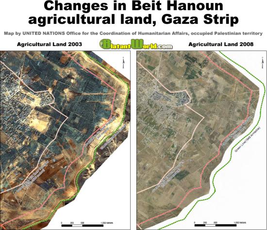 Beit Hanoun agricultural land 2003 and 2006