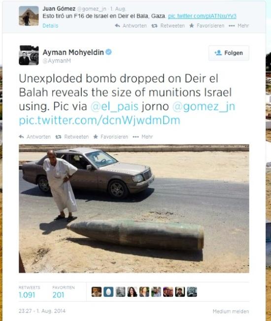 Nicht explodierte Bombe, auf Deir el-Balah geworfen, offenbart das Ausmaß der von Israel verwendeten Munition.
