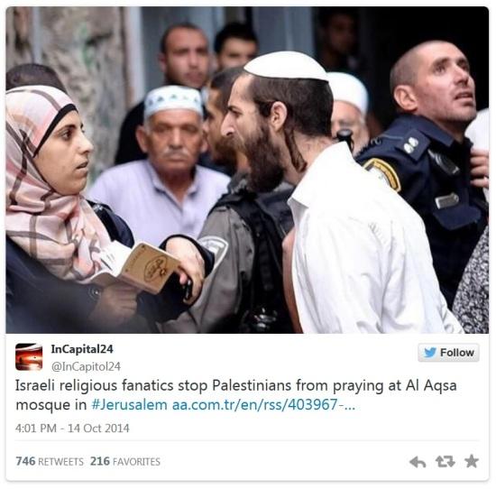 (twitter-Eintrag: israelische religiöse Fanatiker halten Palästinenser davon ab in der Al-Aqasa-Moschee in Jerusalem zu beten)