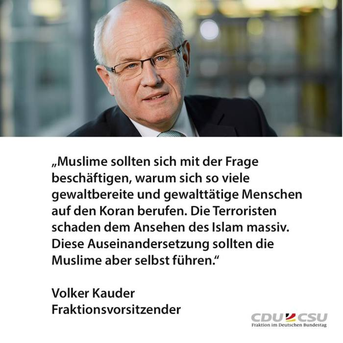 Kauder-Muslime-Koran-Gewalt