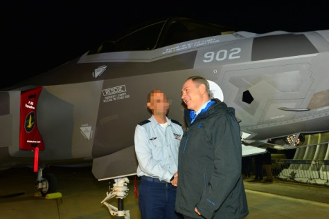 "Israeli prime minister Benjamin Netanyahu at a ceremony for the new F-35 Adir stealth fighter jet at the Nevatim Air Force Base in the Negev Desert. December 12, 2016. Photo by Kobi Gideon/GPO *** Local Caption *** ????? ????? ??? ????? ?- ????  ???????? ????? ????? ???? ???? ?????? ??? ?????? ?????? ?????? ???? ???? ???? ????? ???? ???? ""????"" F-35 . ???? ??? ????? ??????."