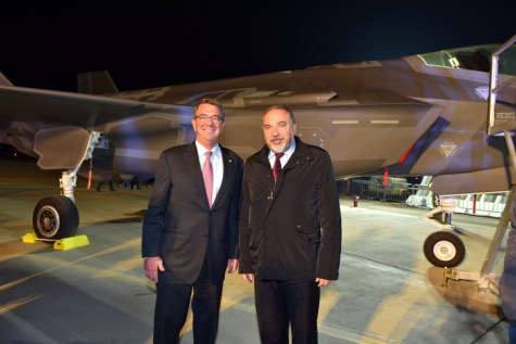 Israeli minister of Defense AVigdor Liberman and US Secretary of Defense Ashton Carter pose for a picture infront of the F-35 Adir stealth fighter jet at the Nevatim Air Force Base in the Negev Desert. December 12, 2016. Photo by Ariel Hermoni/Ministry of Defense *** Local Caption *** ????? ????? ??? ????? ?- ????  ???????? ????? ????? ???? ???? ?????? f-35-?? ??????? ??????? ?????? ?????? ????? ????? ???? ?? ???? ?
